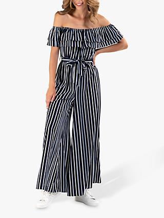 Jolie Moi Striped Bardot Wide Leg Jumpsuit
