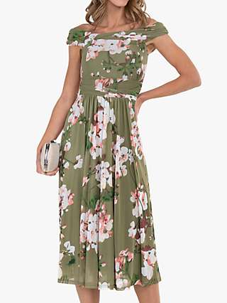 Jolie Moi Bardot Floral Midi Dress, Green/Multi