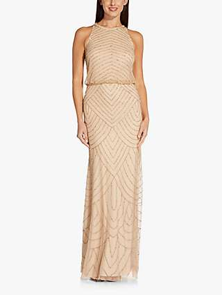 Adrianna Papell Beaded Art Deco Maxi Gown, Champagne