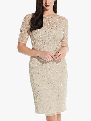 Buy Adrianna Papell Beaded Cocktail Knee Length Dress, Biscotti, 6 Online at johnlewis.com