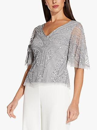 Adrianna Papell Flutter Embellished Top, Silver Mist