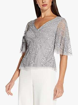 Adrianna Papell Flutter Embellished Top, Silver Mist