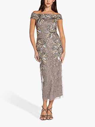 Adrianna Papell Shoulder Floral Embellished Maxi Gown, Deep Platinum