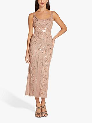 Adrianna Papell Cocktail Embellished Maxi Dress, Rose Gold