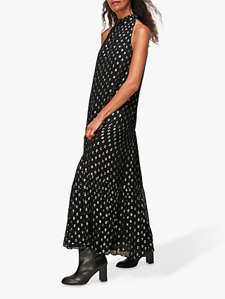 Whistles Dobby Metallic Maxi Trapeze Dress, Black