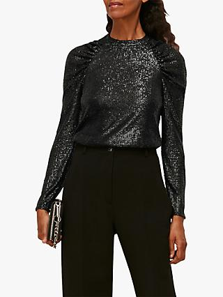 Whistles Sequin Embellished Ruched Sleeve Top, Black