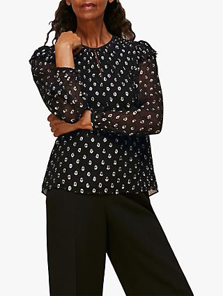 Whistles Dobby Metallic Spot Top, Black