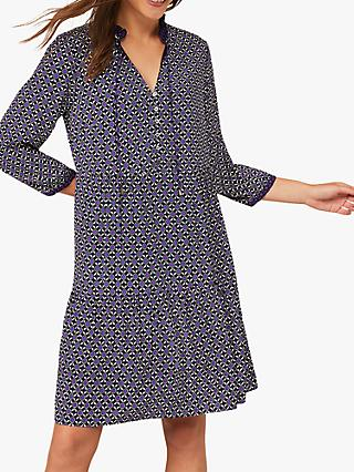 Phase Eight Davina Geometric Spot Swing Dress, Purple/Multi