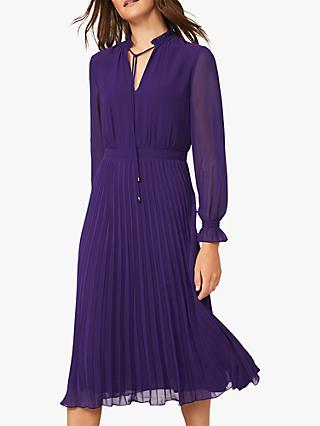 Phase Eight Iris Pleat Dress, Electric Purple
