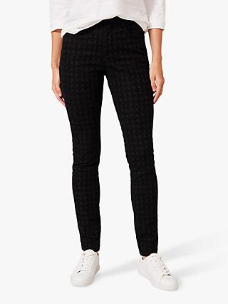 Phase Eight Sabine Dogtooth Print Jeans, Black