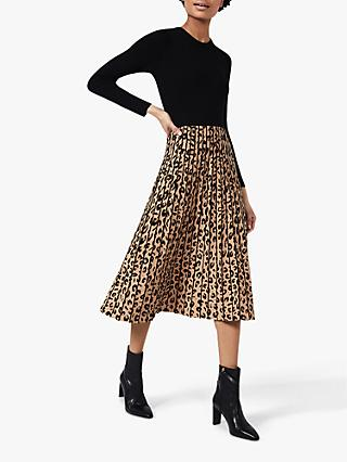 Hobbs Petite Leopard Print Pleated Dress, Black/Camel