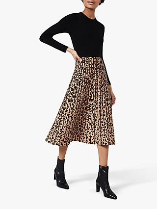 Hobbs Harlie Leopard Midi Dress, Black/Camel