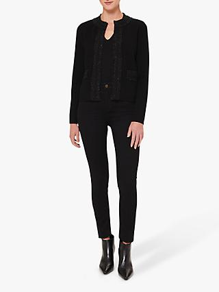Hobbs Frankie Metallic Tweed Jacket, Black