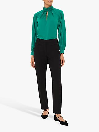 Hobbs Alison Celeste Satin High Neck Blouse, Jade Green