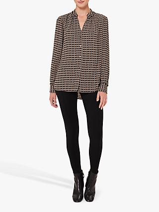 Hobbs Alison Geometric Blouse, Neutral/Multi