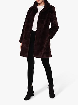 Hobbs Ros Faux Fur Coat, Dark Berry