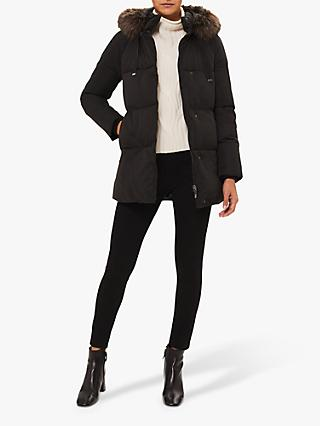 Hobbs Lexie Puffer Jacket, Washed Black
