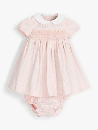 John Lewis & Partners Heirloom Collection Baby Stripe Dress and Knicker Set, Pink