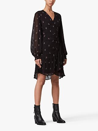 AllSaints Fina Snake Embellished Mini Dress, Black