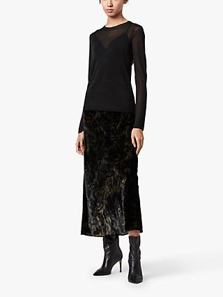 AllSaints Kelsie Velvet 2-in-1 Dress, Black