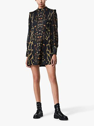 AllSaints Isla Osmosis Floral and Snake Print Dress, Black