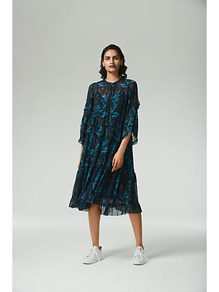 AllSaints Macey Floral Midi Dress, Teal