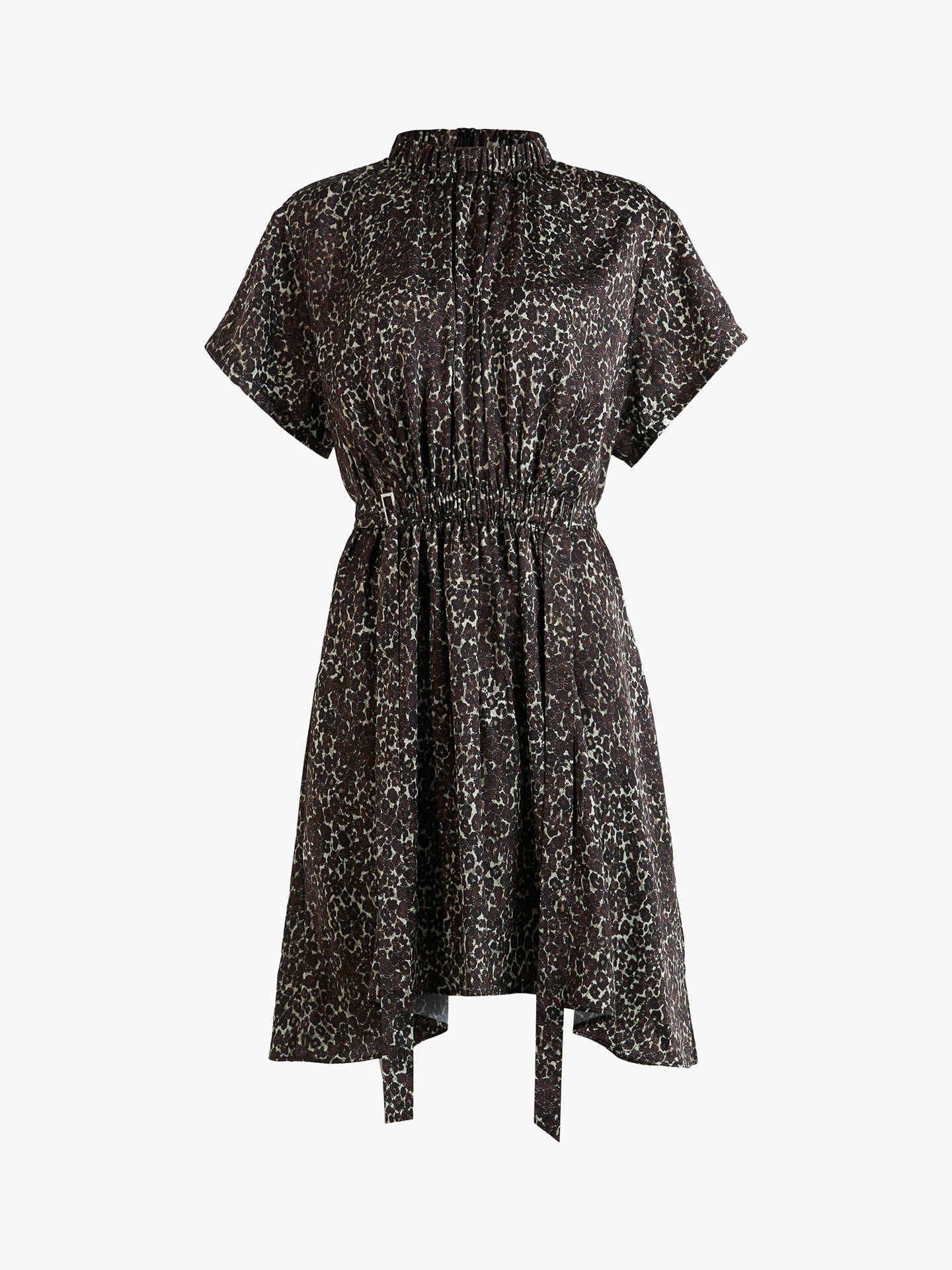 Buy AllSaints Erin Lee Leopard Print Ruched Mini Dress, Umber Brown, 6 Online at johnlewis.com