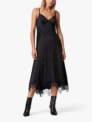 AllSaints Lalita Lace Trim Slip Dress, Black