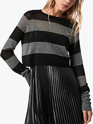 AllSaints Jaclyn Metallic Stripe 2-in-1 Dress