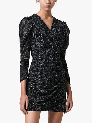 AllSaints Lucia Dot Mini Wrap Dress, Black