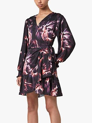 AllSaints Fina Flames Mini Dress, Black