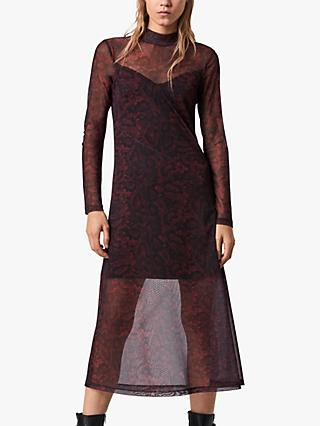 AllSaints Stanza Snake Print Midi Dress, Burgundy Red