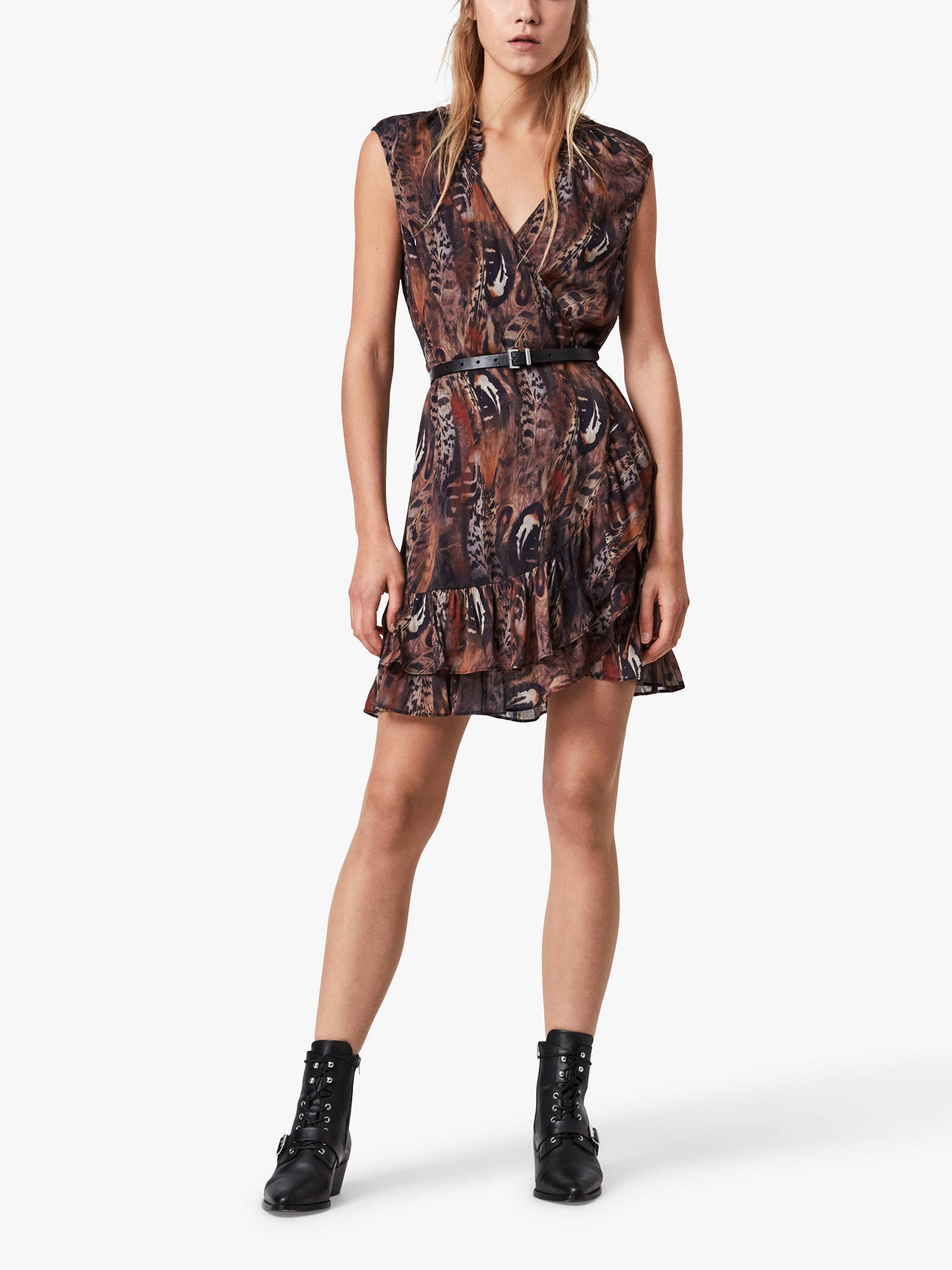 Buy AllSaints Darley Abstract Feather Print Dress, Brown, 6 Online at johnlewis.com