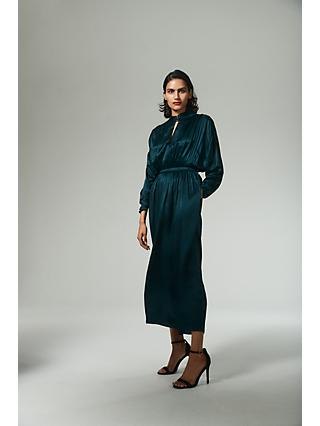 AllSaints Gracie Silk Blend Maxi Dress, Teal
