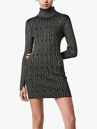 AllSaints Rosa Metallic Cable Knit Roll Neck Dress, Gold