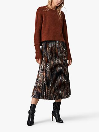 AllSaints Leowa Abstract Feather Print 2-In-1 Dress, Brown