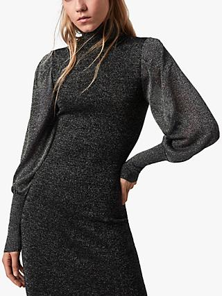 AllSaints Gloria Metallic Knit Dress, Black/Silver