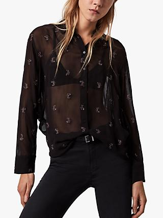AllSaints Marianna Snake Embroidered Shirt, Black/Dark Rose