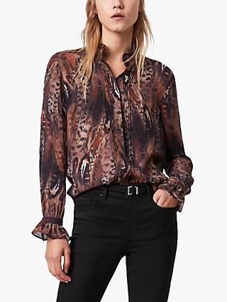 AllSaints Louise Fusion Abstract Feather Print Shirt, Brown