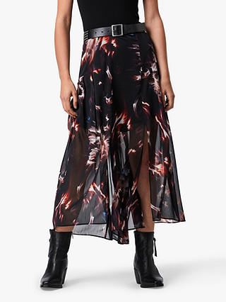 Buy AllSaints Vivvie Flames Skirt, Black, 6 Online at johnlewis.com