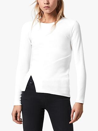AllSaints Gia Long Sleeved Knit Tee, Chalk White