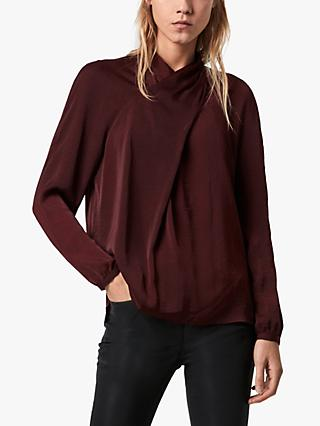 AllSaints Zola Crossover Twist Top, Port Royale