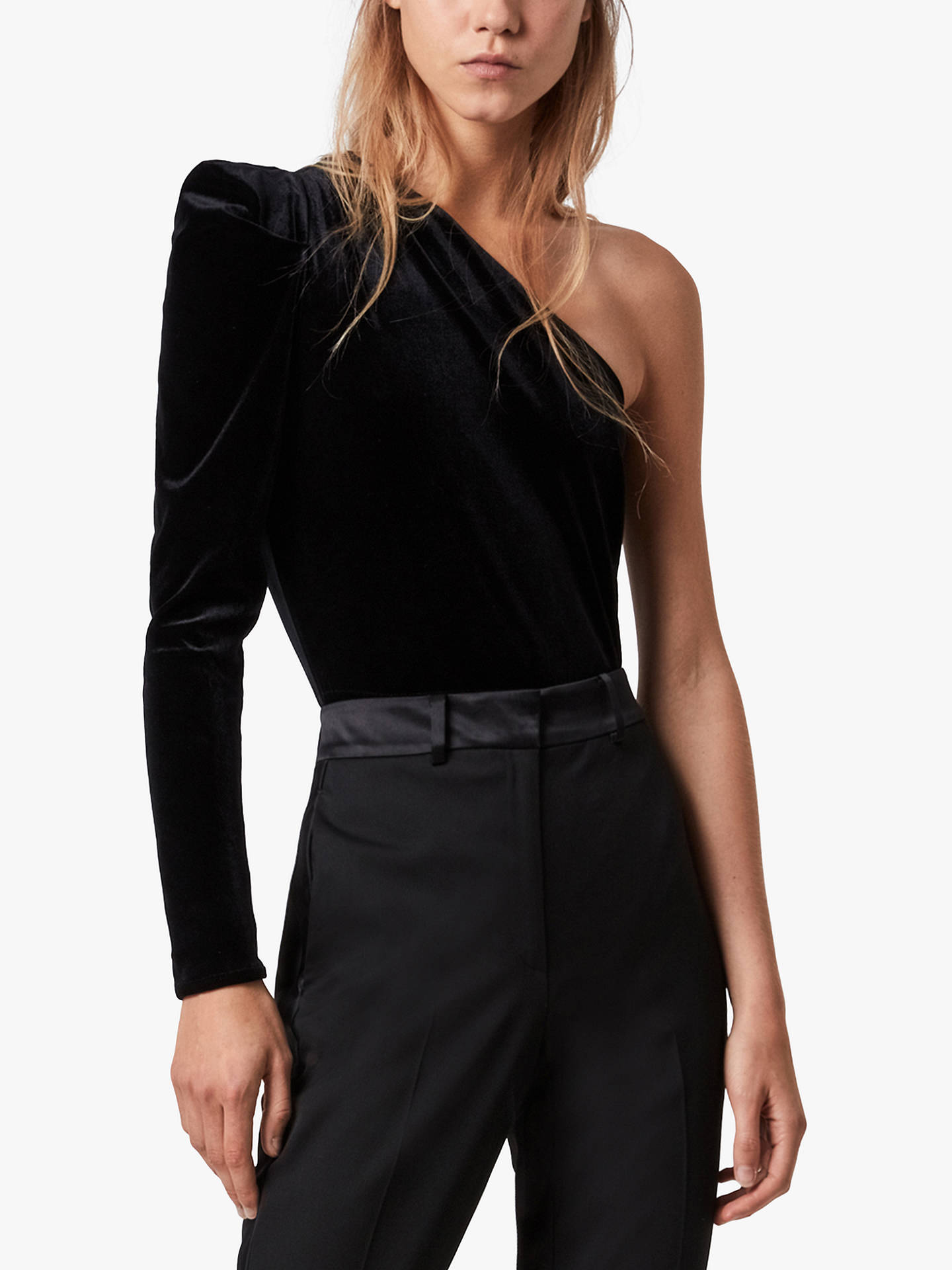 Buy AllSaints Daphne Velvet One Shoulder Bodysuit, Black, 12 Online at johnlewis.com