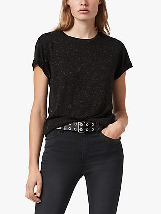 AllSaints Anna Short Sleeve Flecked T-Shirt, Black