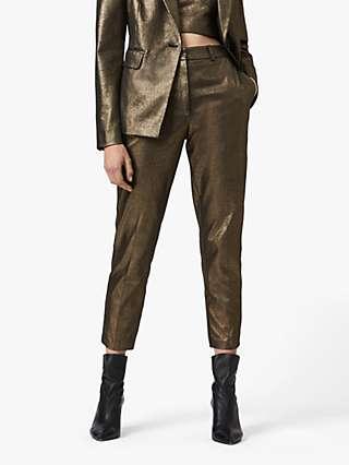 AllSaints Micah Slim Crop Trousers, Gold
