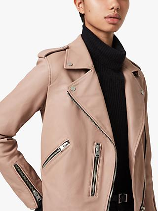 AllSaints Fern Leather Biker Jacket, Cameo Pink