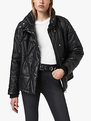 AllSaints Bon Leather Puffer Jacket, Black