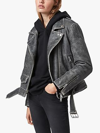 AllSaints Arashi Cracked Effect Leather Biker Jacket, Black