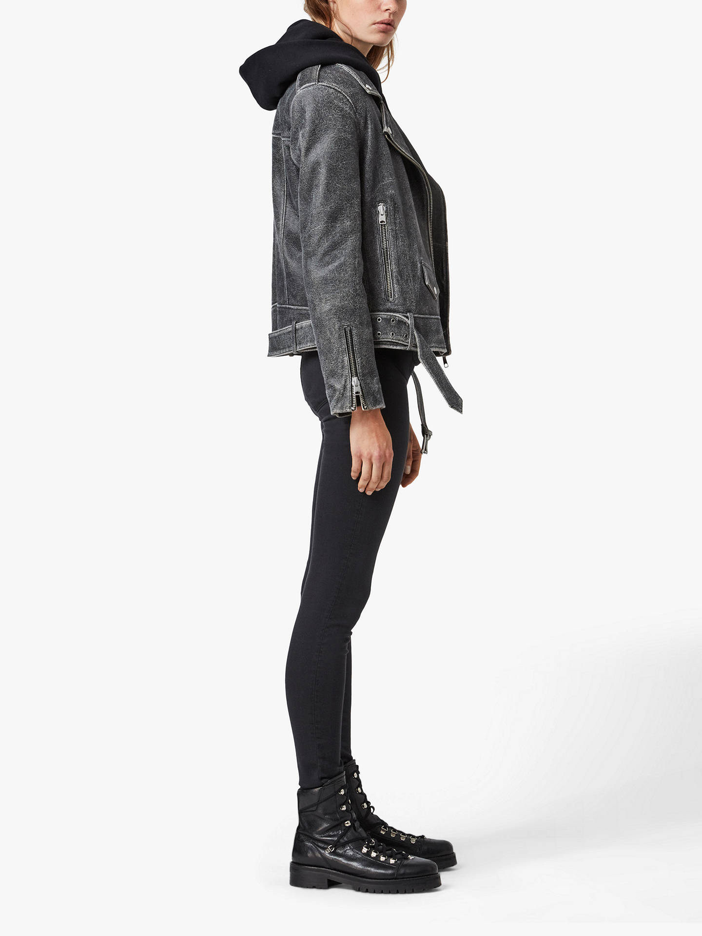Buy AllSaints Arashi Cracked Effect Leather Biker Jacket, Black, 6 Online at johnlewis.com