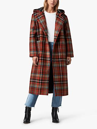 AllSaints Ebony Wool Check Coat, Orange/Black